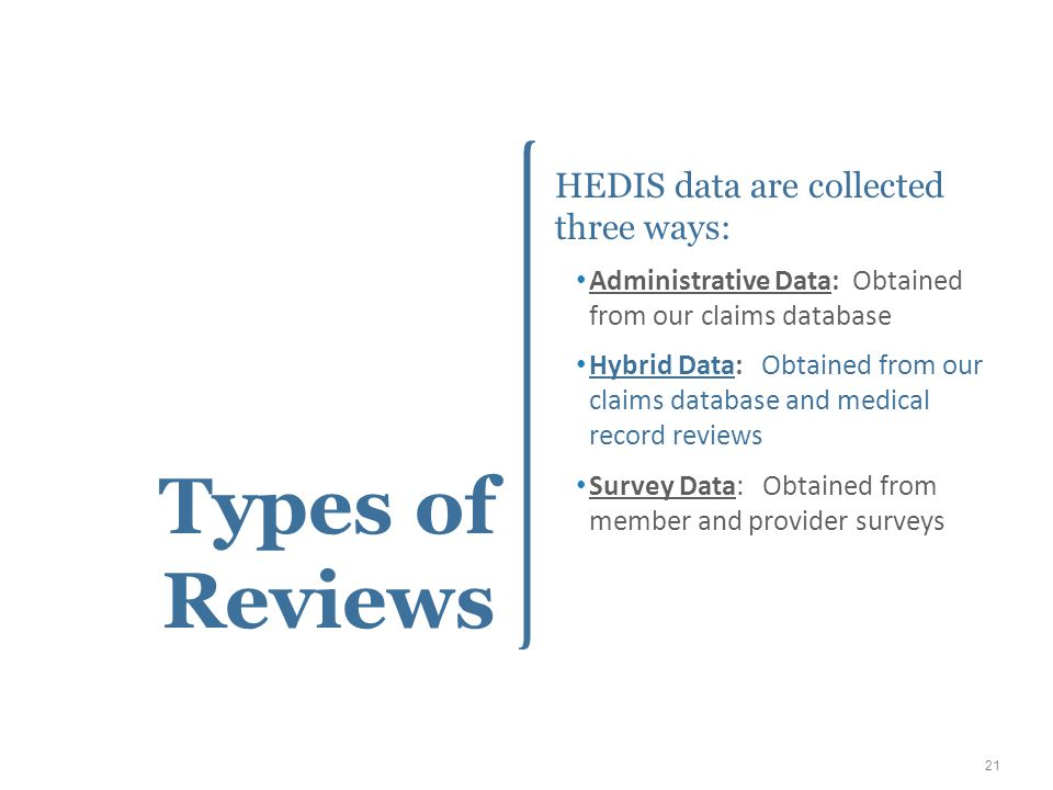 Types of Reviews HEDIS data are collected three ways: