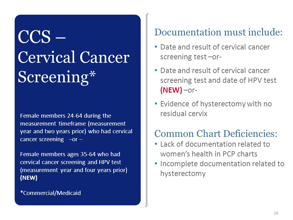 CCS – Cervical Cancer Screening* Documentation must include: