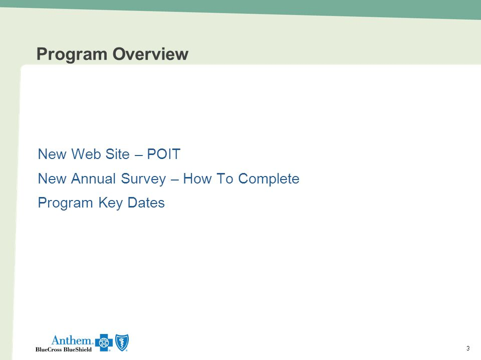 Program Overview New Web Site – POIT