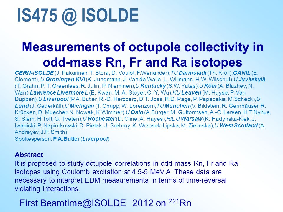 IS475 @ ISOLDE Measurements of octupole collectivity in