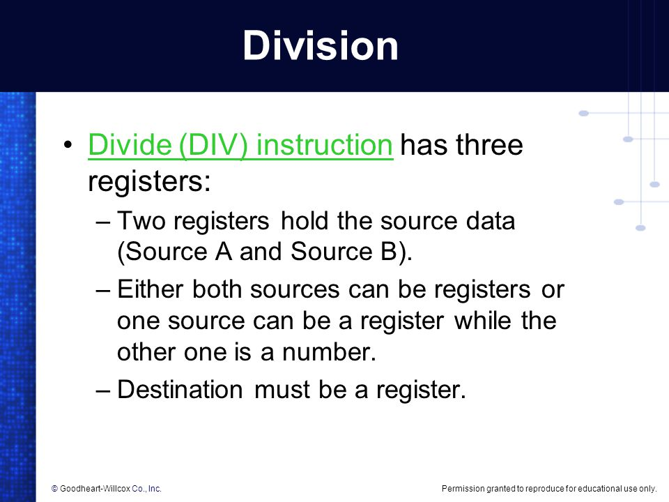 Division Divide (DIV) instruction has three registers:
