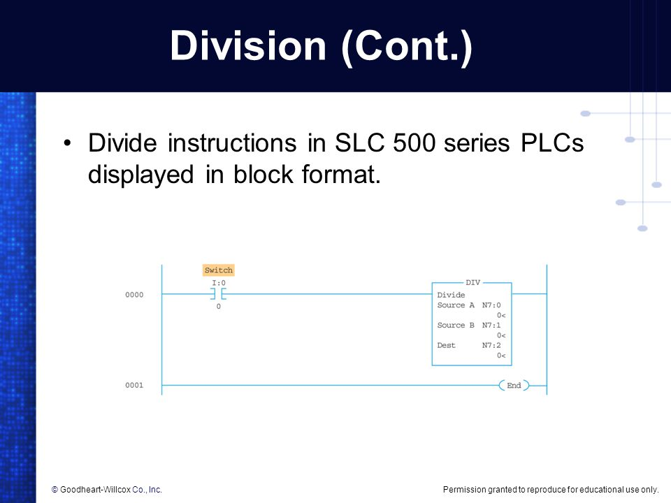 Division (Cont.) Divide instructions in SLC 500 series PLCs displayed in block format.