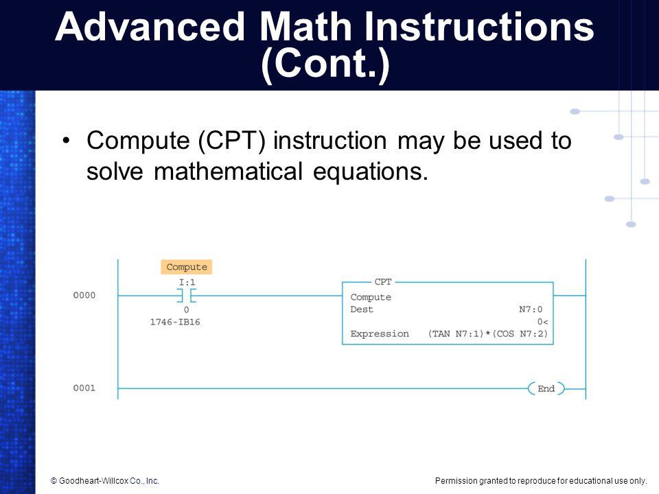 Advanced Math Instructions (Cont.)