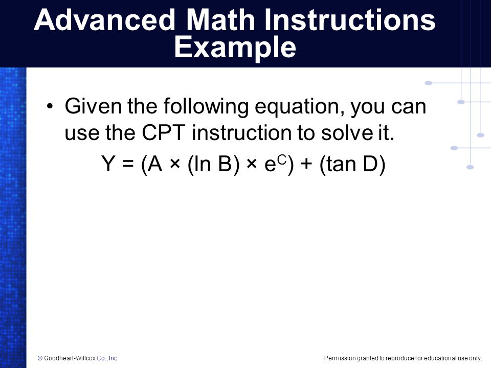 Advanced Math Instructions Example