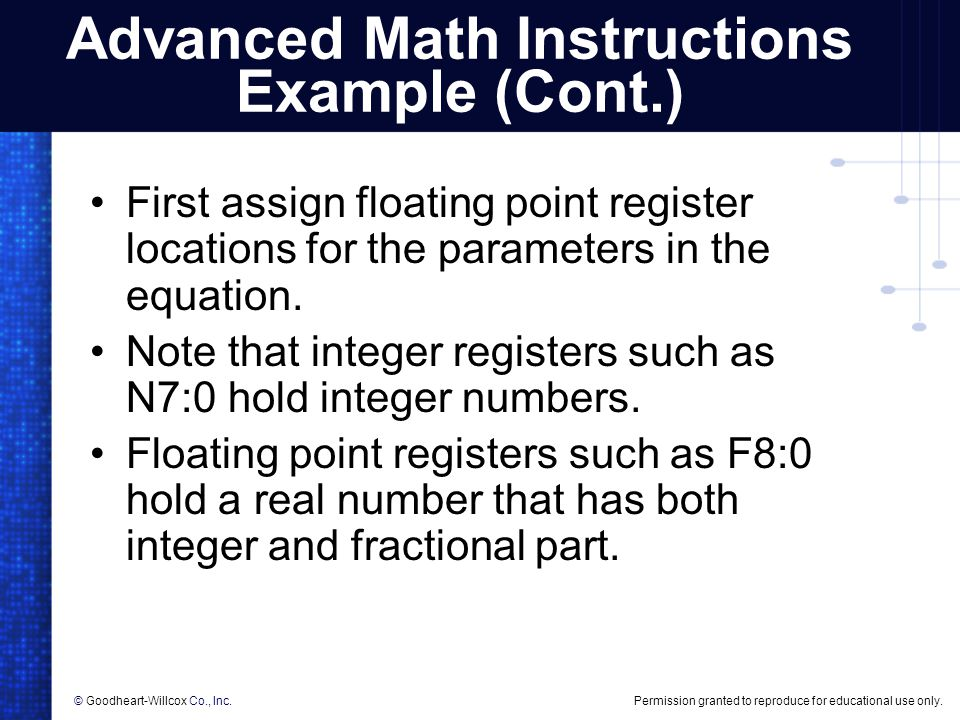 Advanced Math Instructions Example (Cont.)