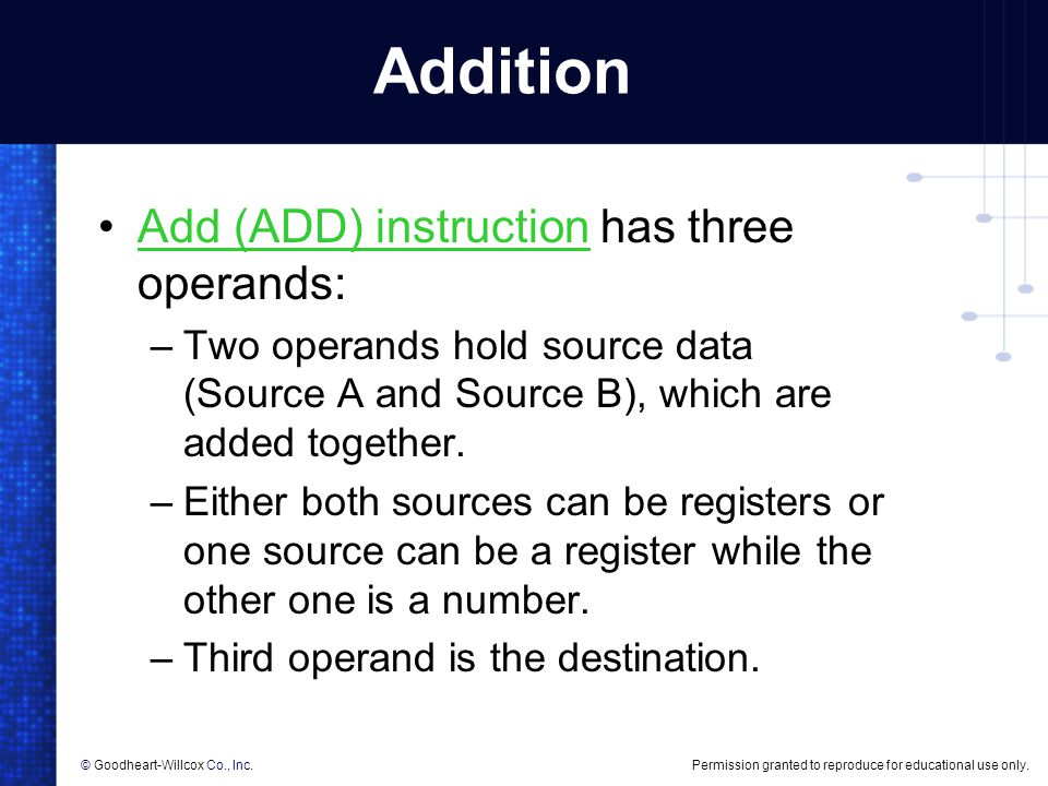 Addition Add (ADD) instruction has three operands: