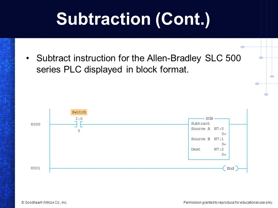Subtraction (Cont.) Subtract instruction for the Allen-Bradley SLC 500 series PLC displayed in block format.