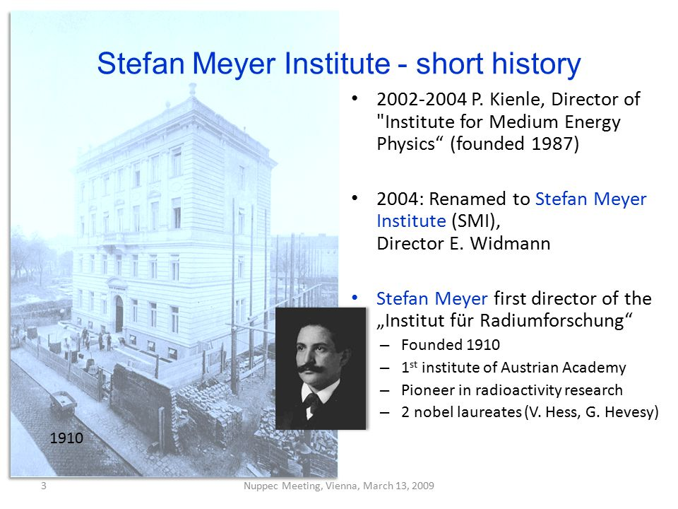 Stefan Meyer Institute - short history