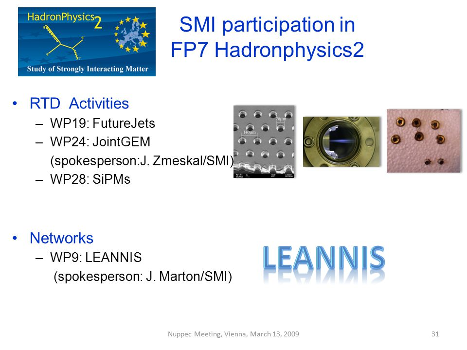 SMI participation in FP7 Hadronphysics2