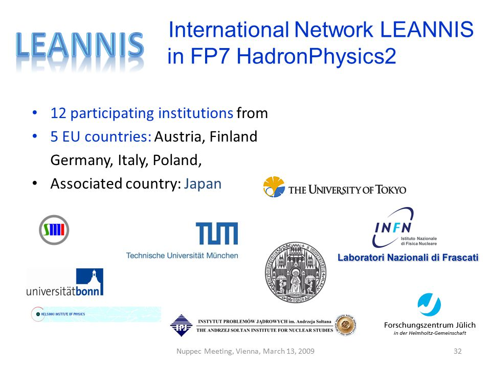 International Network LEANNIS in FP7 HadronPhysics2