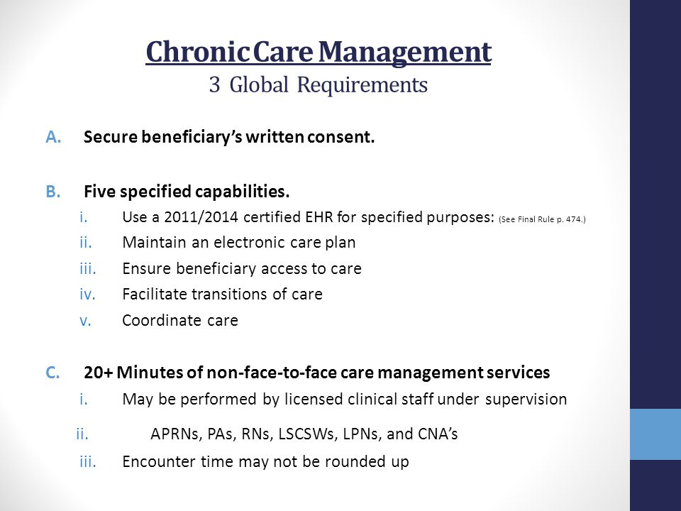 Chronic Care Management 3 Global Requirements