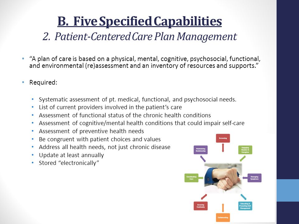 B. Five Specified Capabilities 2. Patient-Centered Care Plan Management