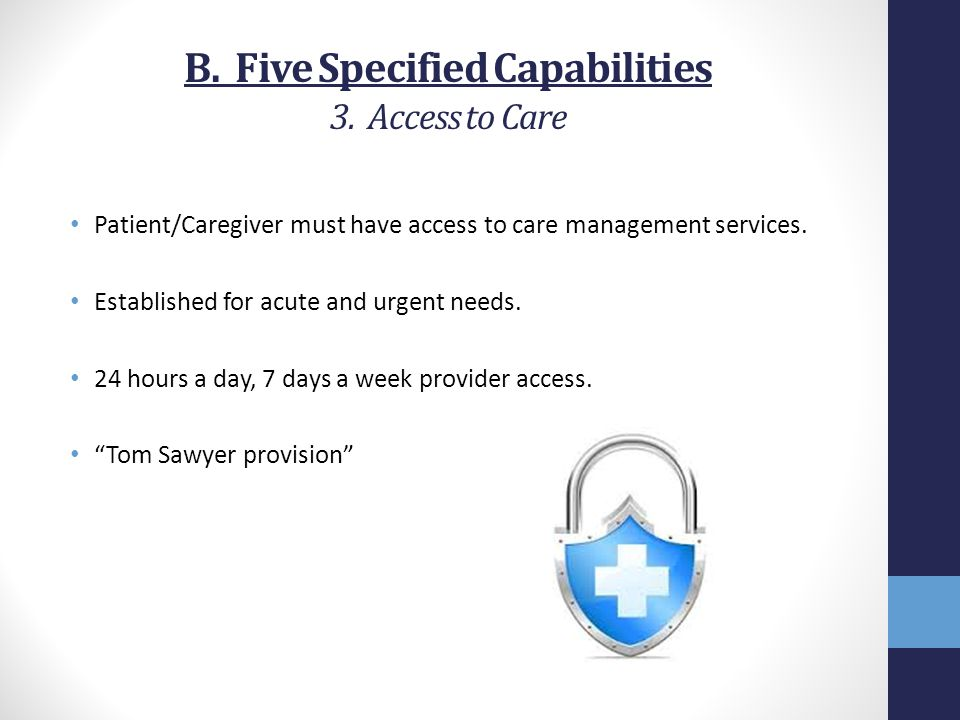 B. Five Specified Capabilities 3. Access to Care