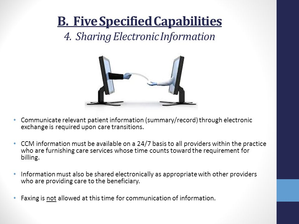 B. Five Specified Capabilities 4. Sharing Electronic Information
