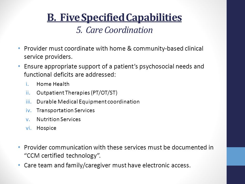 B. Five Specified Capabilities 5. Care Coordination