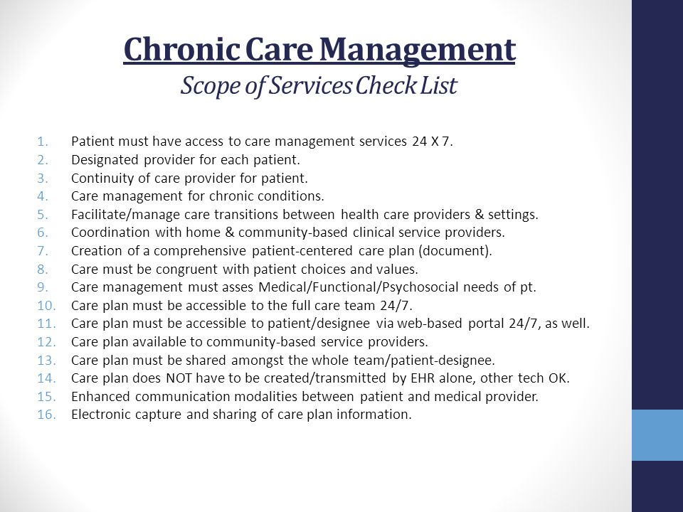 Chronic Care Management Scope of Services Check List