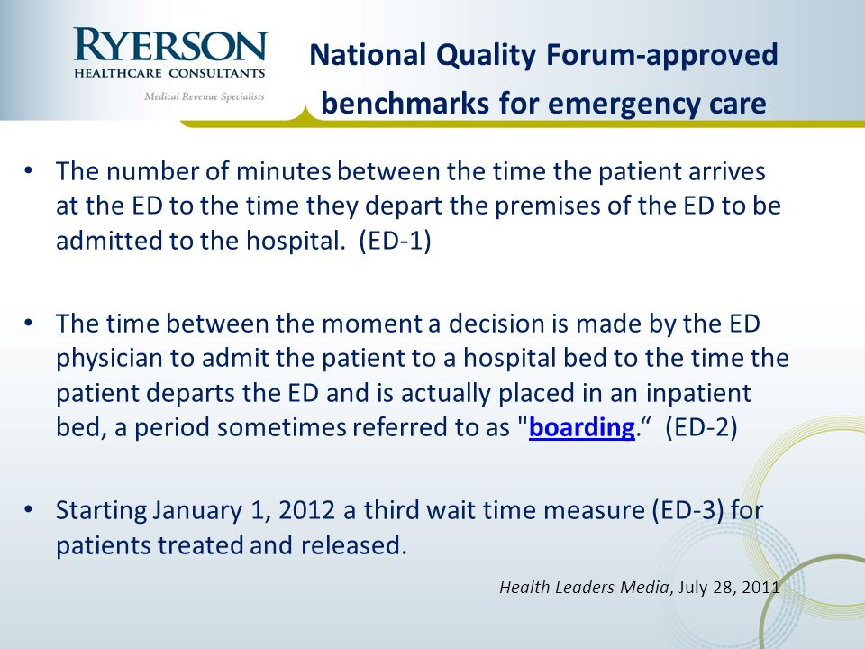 National Quality Forum-approved benchmarks for emergency care