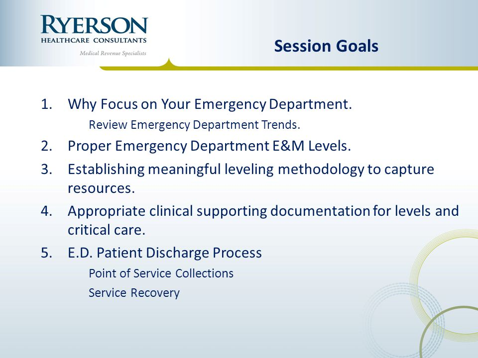 Session Goals Why Focus on Your Emergency Department.