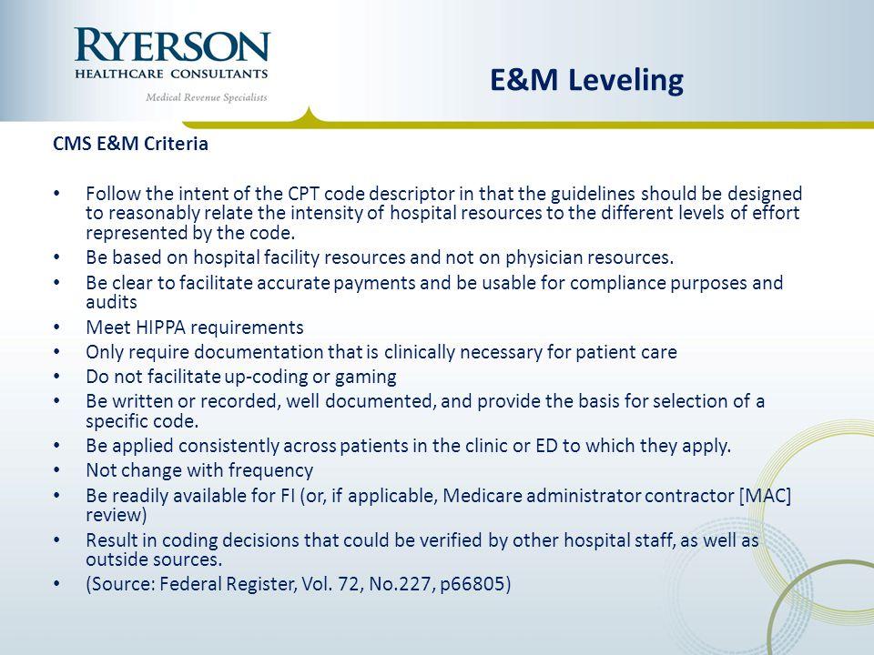 E&M Leveling CMS E&M Criteria