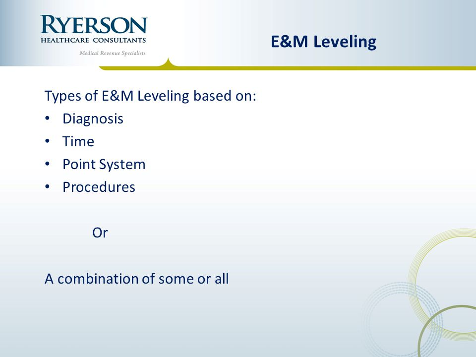 E&M Leveling Types of E&M Leveling based on: Diagnosis Time
