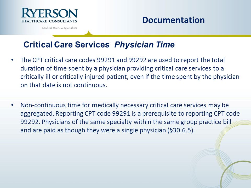 Documentation Critical Care Services Physician Time