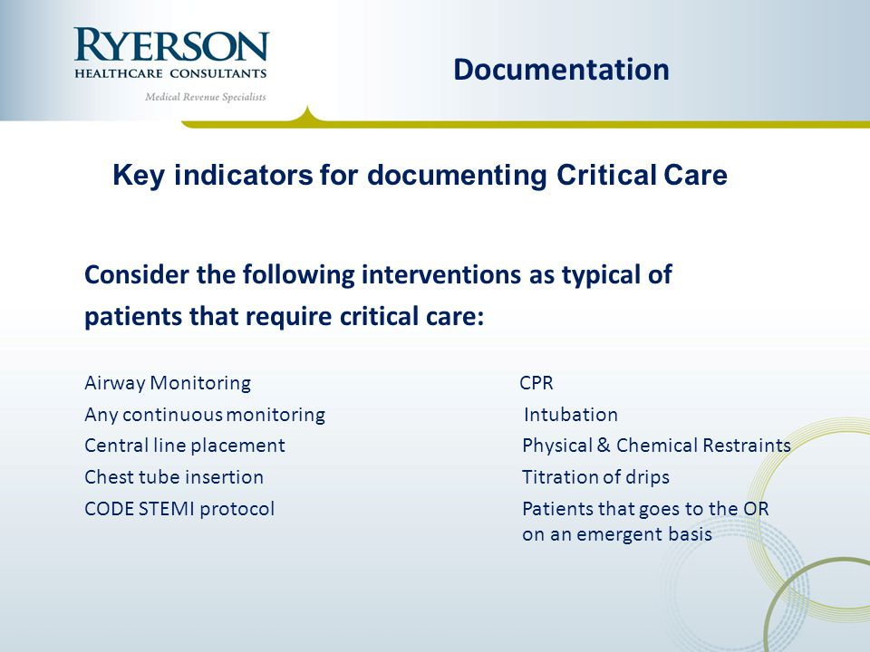 Key indicators for documenting Critical Care