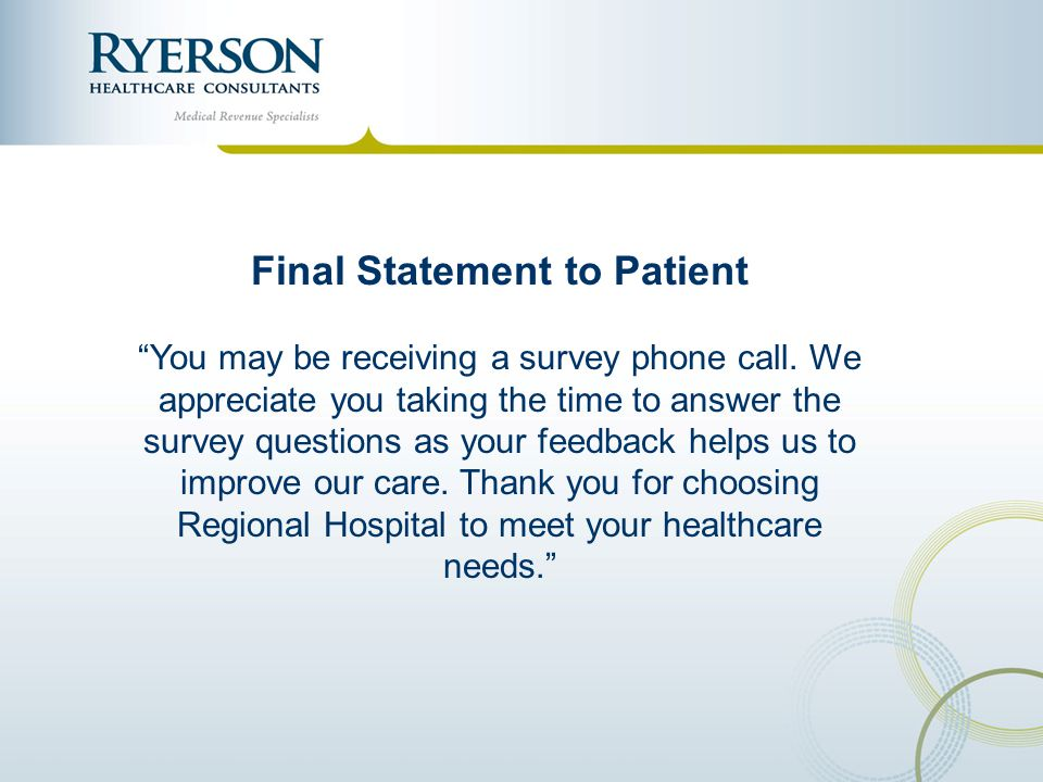 Final Statement to Patient