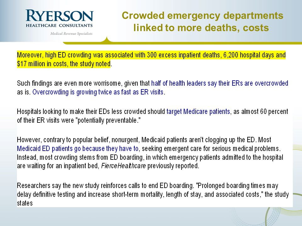 Crowded emergency departments linked to more deaths, costs