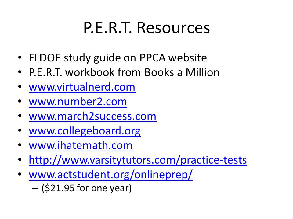 P.E.R.T. Resources FLDOE study guide on PPCA website