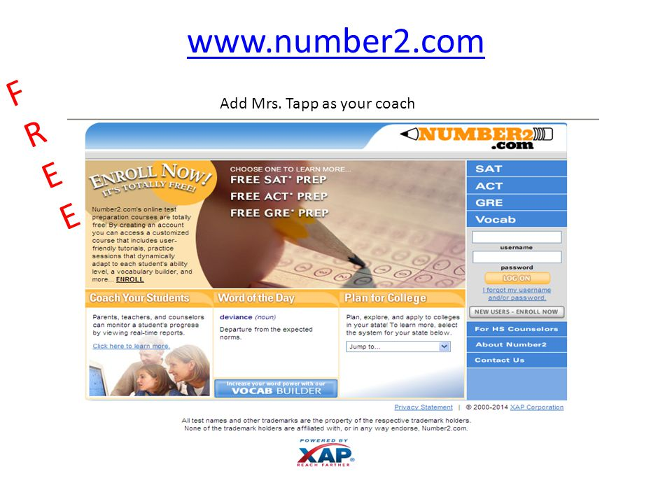 www.number2.com FREE Add Mrs. Tapp as your coach