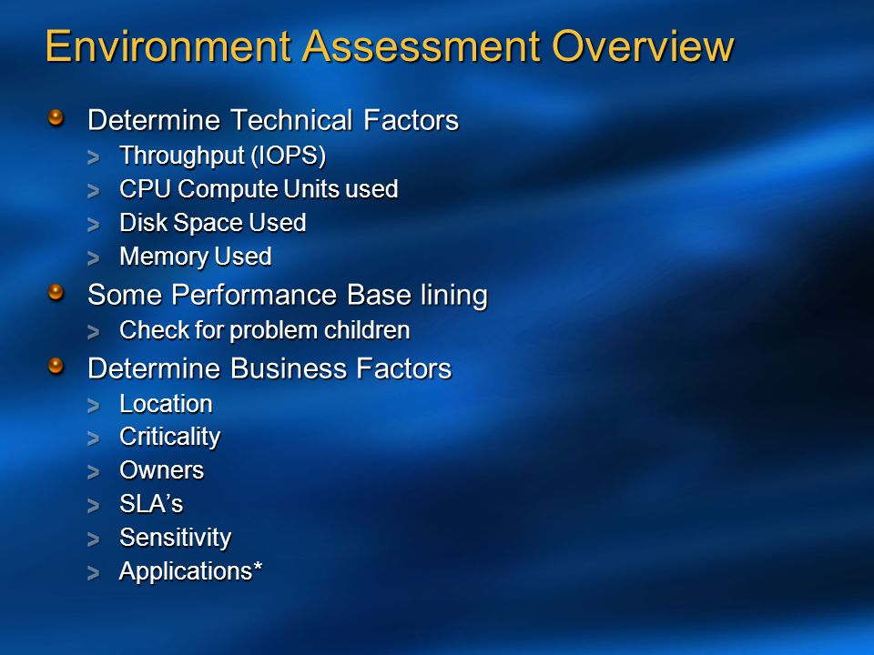 Environment Assessment Overview