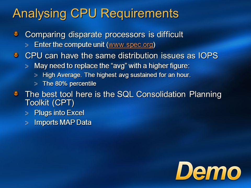 Analysing CPU Requirements