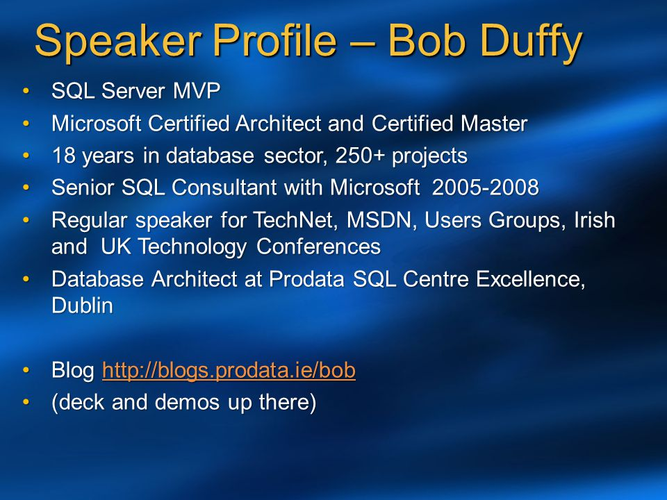 Speaker Profile – Bob Duffy