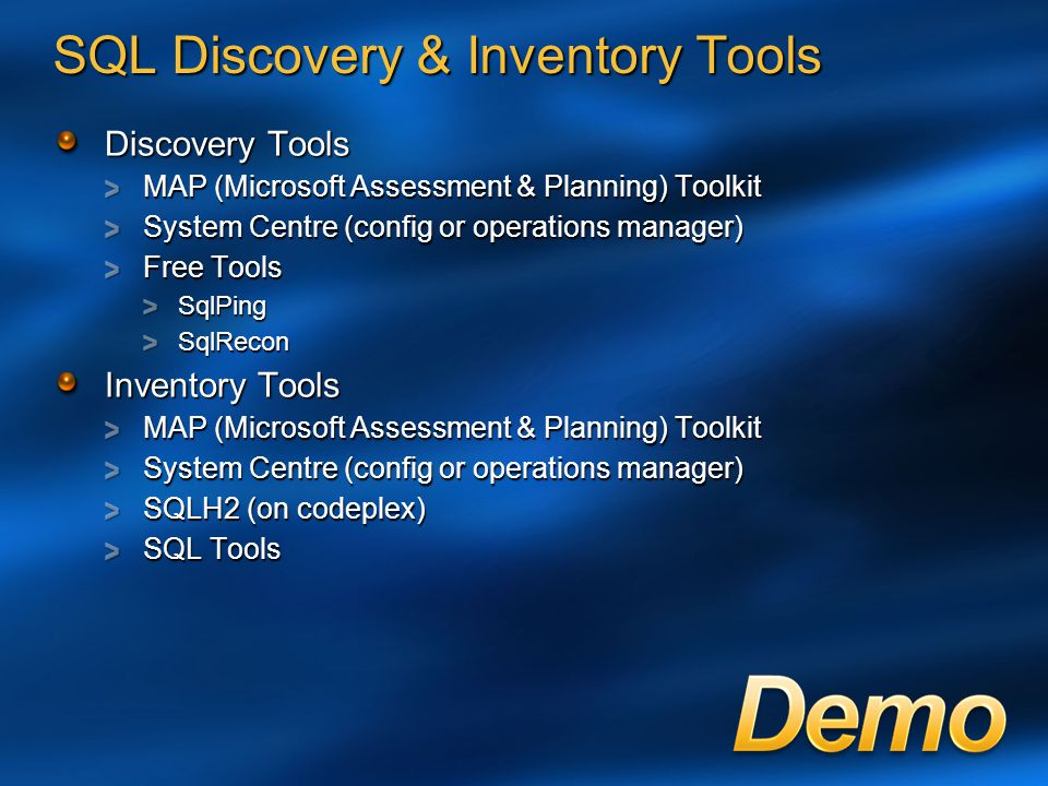 SQL Discovery & Inventory Tools