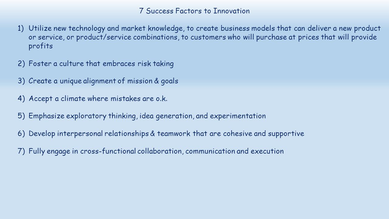 7 Success Factors to Innovation