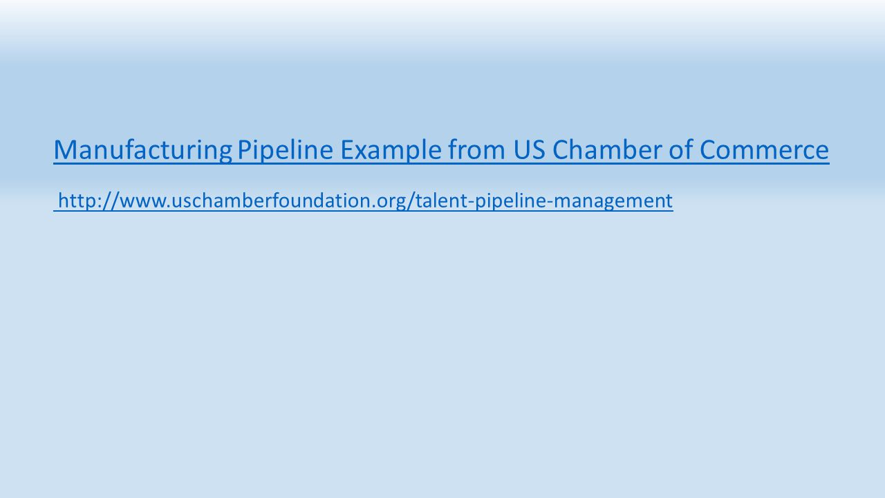 Manufacturing Pipeline Example from US Chamber of Commerce