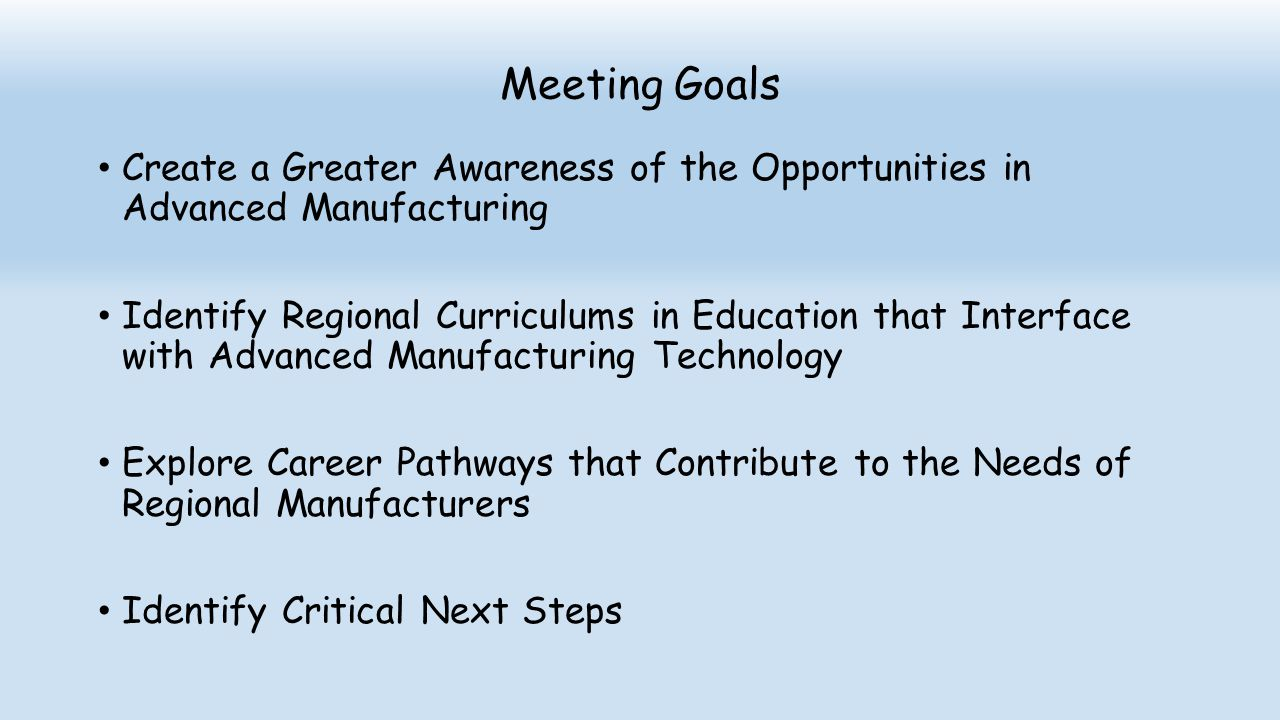Meeting Goals Create a Greater Awareness of the Opportunities in Advanced Manufacturing.