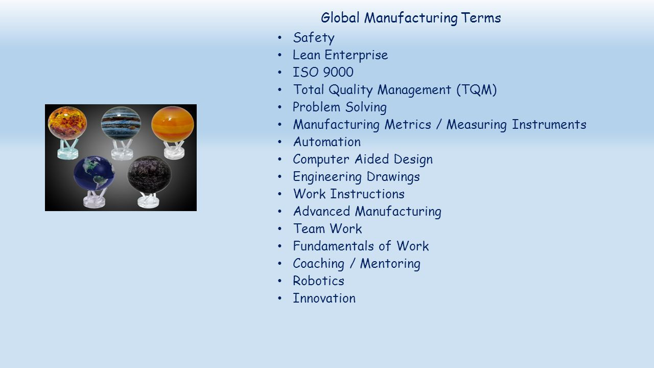 Global Manufacturing Terms