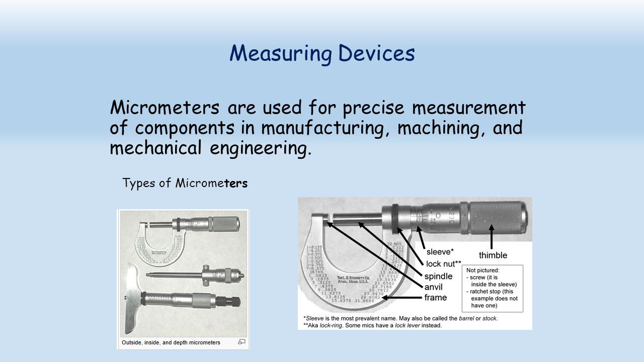 Measuring Devices Micrometers are used for precise measurement of components in manufacturing, machining, and mechanical engineering.