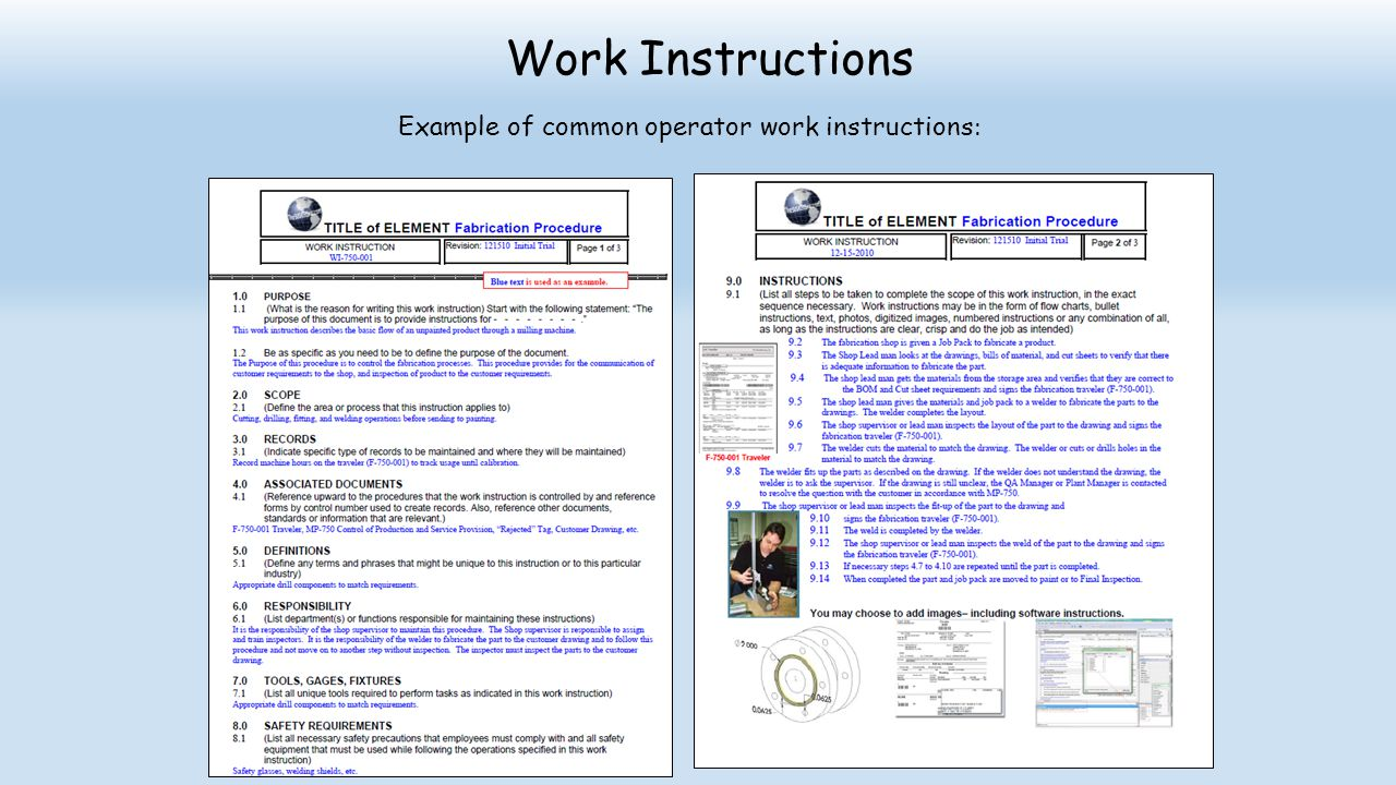 Example of common operator work instructions: