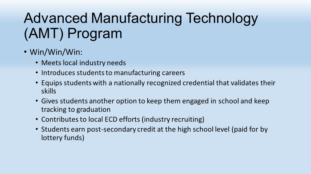 Advanced Manufacturing Technology (AMT) Program