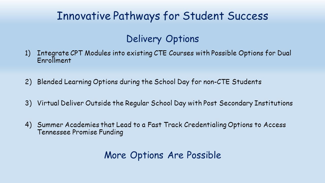 Innovative Pathways for Student Success Delivery Options