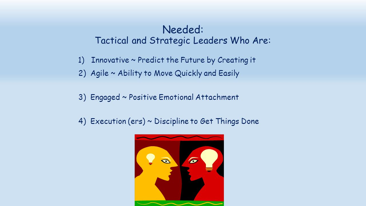Needed: Tactical and Strategic Leaders Who Are: