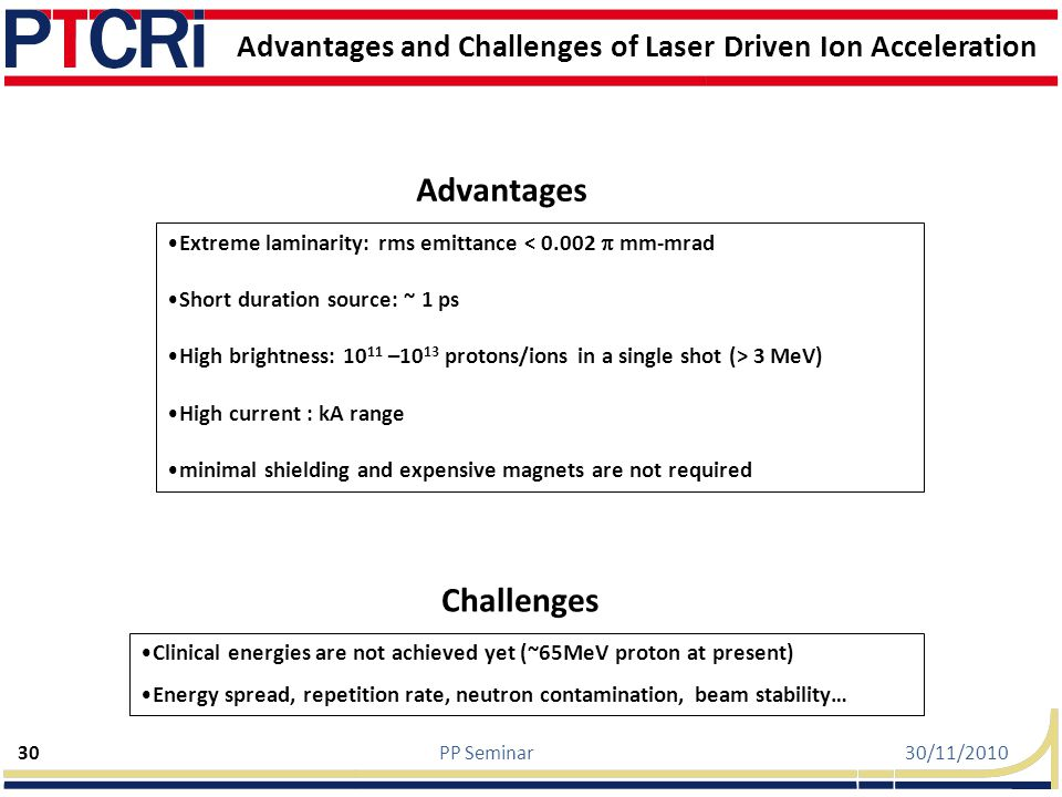 Advantages and Challenges of Laser Driven Ion Acceleration
