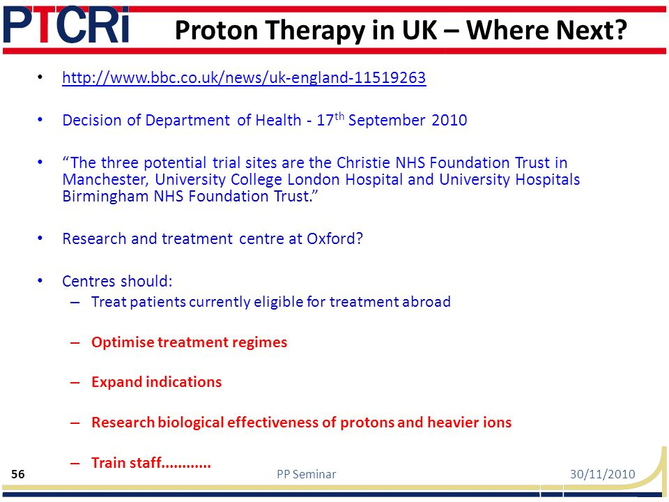 Proton Therapy in UK – Where Next