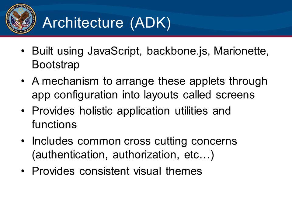 Architecture (ADK) Built using JavaScript, backbone.js, Marionette, Bootstrap.