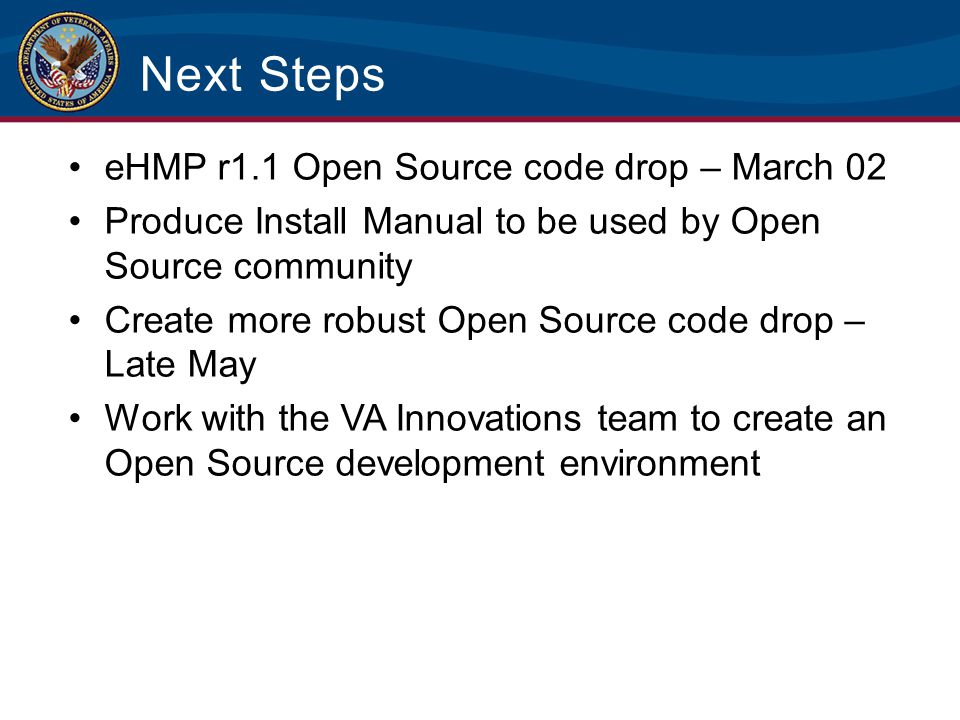 Next Steps eHMP r1.1 Open Source code drop – March 02