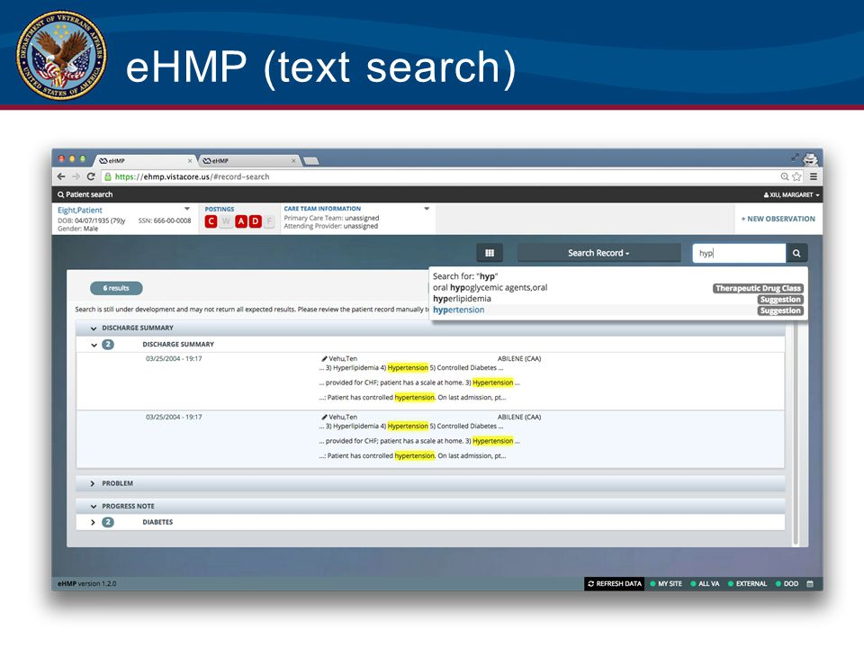 eHMP (text search) This view shows an example of the text search functionality.