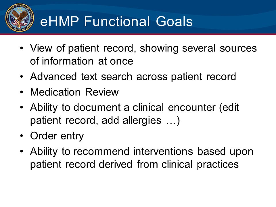 eHMP Functional Goals View of patient record, showing several sources of information at once. Advanced text search across patient record.