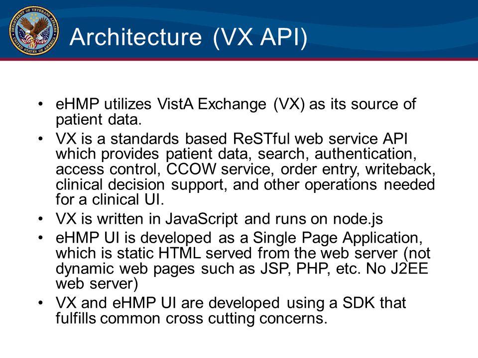 Architecture (VX API) eHMP utilizes VistA Exchange (VX) as its source of patient data.